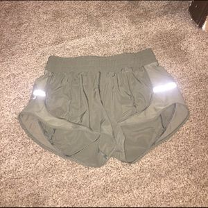 Army green lulu shorts